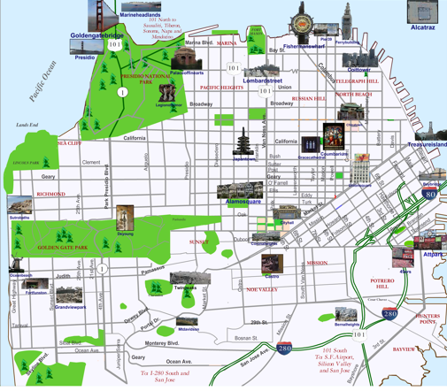 San Francisco Landmarks Map – Map Of San Francisco Tourist Attractions